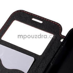 PU kožené puzdro s okienkom pro Samsung Galaxy J5 - červené - 7