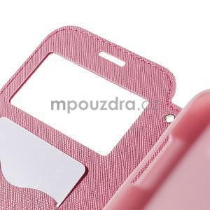 PU kožené puzdro s okienkom pro Samsung Galaxy J5 - rose - 7