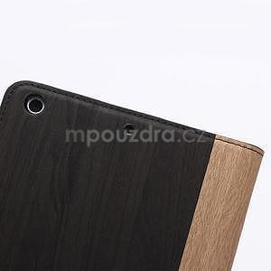 Koženkové puzdro s imitáciou dreva na iPad Mini 3, iPad Mini 2, iPad mini - tmavošedé - 7