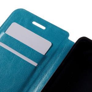 Peňaženkové PU kožené puzdro pre mobil Doogee X5 - modré - 7