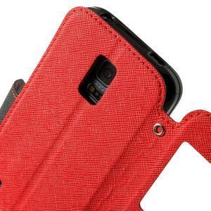 Pěněženkové pouzdro s okýnkem pro Samsung Galaxy S5 mini - červené - 7