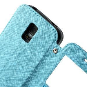 Pěněženkové pouzdro s okýnkem pro Samsung Galaxy S5 mini -  světlemodré - 7