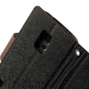 Diary PU kožené puzdro pre Samsung Galaxy S5 mini - čierne/hnedé - 7