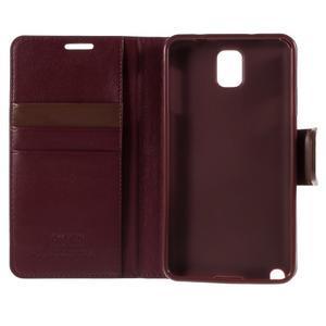 Setsnow PU kožené puzdro na Samsung Galaxy Note 3 - vínové - 7