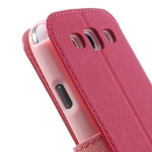 Peňaženkové puzdro s okienkom pre Samsung Galaxy S3 / S III - rose - 7