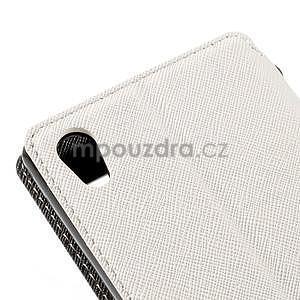 Peněženkové pouzdro s okýnkem pro Sony Xperia M4 Aqua - bílé - 7