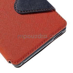 Peňaženkové puzdro s okienkom pre Sony Xperia M4 Aqua - oranžové - 7