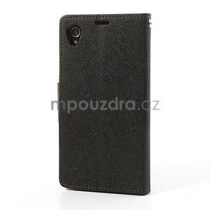 Fancy peněženkové pouzdro na mobil Sony Xperia Z1 - černé/hnědé - 7