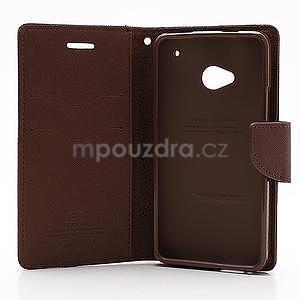 Peňaženkové kožené puzdro pre HTC One M7 - hnedé - 7