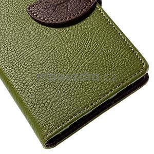 Zapínací PU kožené pouzdro na Huawei P8 Lite - zelené - 7