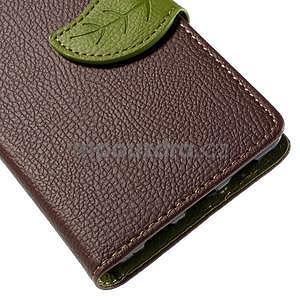 Zapínací PU kožené pouzdro na Huawei P8 Lite - hnědé - 7