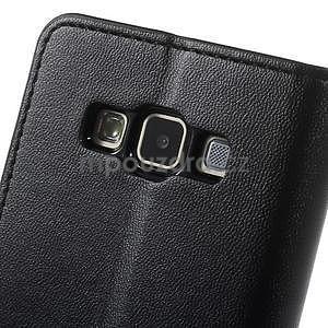 Čierné kožené peňaženkové puzdro pre Samsung Galaxy A3 - 7