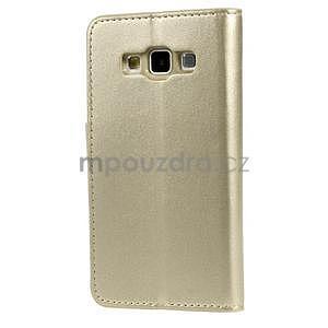 Zlaté kožené peňaženkové puzdro na Samsung Galaxy A3 - 7