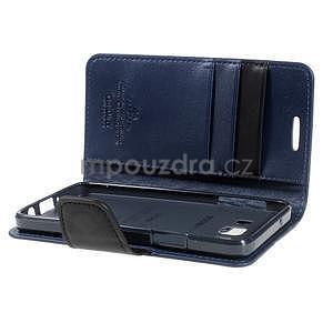 Tmavě modré kožené peňaženkové puzdro na Samsung Galaxy A3 - 7