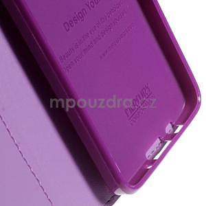 Fialové kožené peňaženkové puzdro na Samsung Galaxy A3 - 7