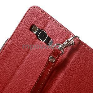 Červené/hnedé kožené puzdro na Samsung Galaxy A3 - 7