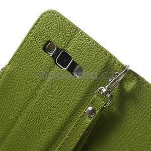 Zelené/hnedé kožené puzdro na Samsung Galaxy A3 - 7