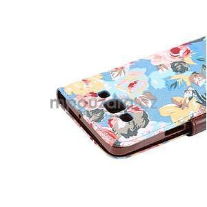 Kvetinové peňaženkové puzdro pre Samsung Galaxy A5 - modré - 7