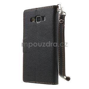 Čierné/hnedé kožené puzdro na Samsung Galaxy A5 - 7