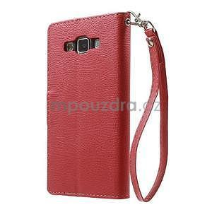 Červené/hnedé kožené puzdro na Samsung Galaxy A5 - 7