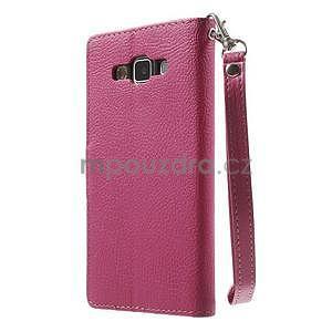 Rose/hnedé kožené puzdro na Samsung Galaxy A5 - 7