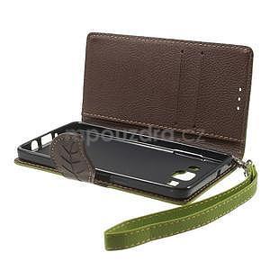 Zelené/hnedé kožené puzdro na Samsung Galaxy A5 - 7