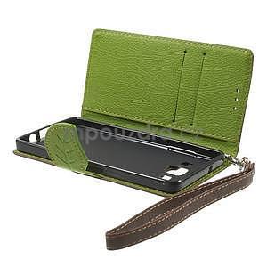 hnedé/zelené kožené puzdro pre Samsung Galaxy A5 - 7