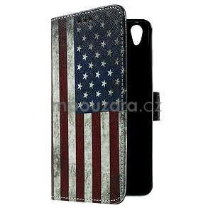 PU kožené peňaženkové puzdro na Lenovo S850 - USA vlajka - 7
