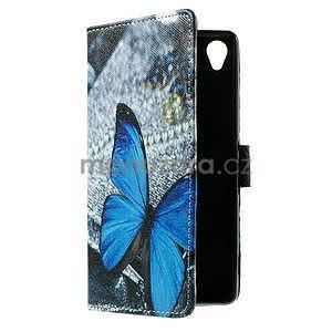 PU kožené peňaženkové puzdro na Lenovo S850 -  modrý motýľ - 7