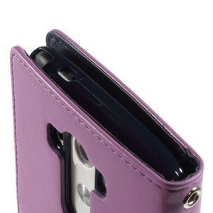 Luxusní PU kožené puzdro pre mobil LG G3 - fialové - 7