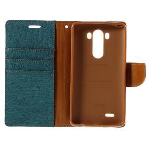 Canvas PU kožené/textilné puzdro pre LG G3 - zelené - 7
