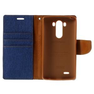 Canvas PU kožené/textilní pouzdro na LG G3 - modré - 7