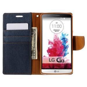 Canvas PU kožené/textilné puzdro pre LG G3 - tmavomodré - 7