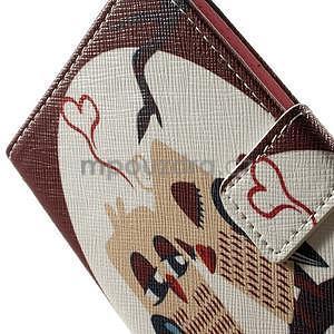 Zapínací peňaženkové puzdro pre LG G3 s - zamilovaní ptáčci - 7