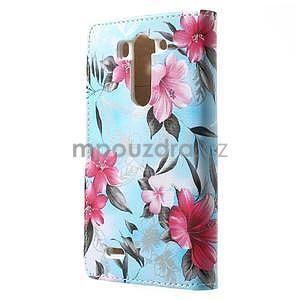 Elegantné lilie peňaženkové puzdro na LG G3 s - tyrkysové - 7