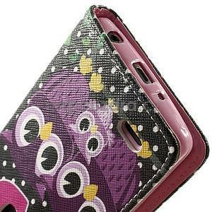 Zapínací peňaženkové puzdro pre LG G3 s - soví rodinka - 7