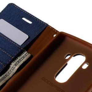Canvas PU kožené/textilní pouzdro na mobil LG G4 - modré - 7