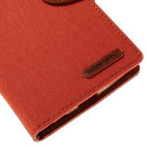 Canvas PU kožené/textilní pouzdro na mobil LG G4 - oranžové - 7