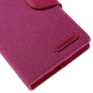Canvas PU kožené/textilní pouzdro na mobil LG G4 - rose - 7