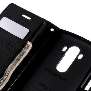 Canvas PU kožené/textilné puzdro pre mobil LG G4 - čierne - 7