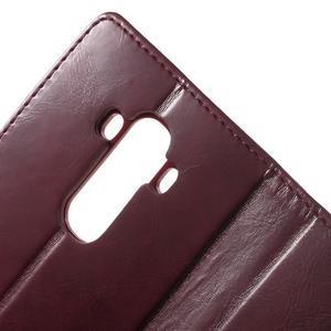Luxury PU kožené puzdro pre mobil LG G4 - vínove červené - 7