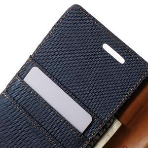 Canvas PU kožené/textilní pouzdro na LG G5 - tmavěmodré - 7