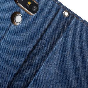 Canvas PU kožené/textilné puzdro pre LG G5 - modré - 7