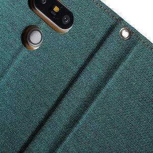 Canvas PU kožené/textilné puzdro pre LG G5 - zelené - 7