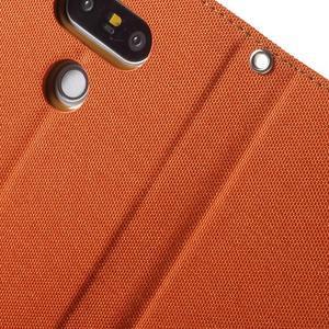 Canvas PU kožené/textilní pouzdro na LG G5 - oranžové - 7