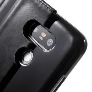 Canvas PU kožené/textilní pouzdro na LG G5 - černé - 7