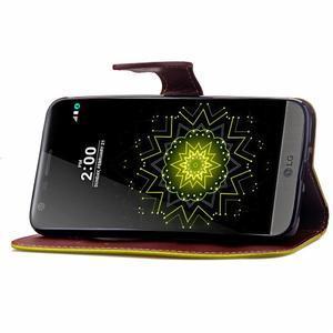Leaf PU kožené pouzdro na LG G5 - zelené - 7