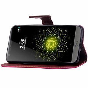 Leaf PU kožené puzdro pre LG G5 - rose - 7