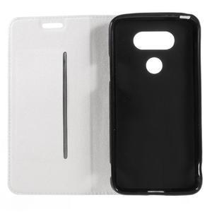 Klopové peňaženkové puzdro pre LG G5 - biele - 7