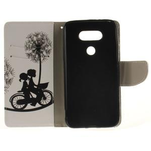 Obrázkové koženkové puzdro pre LG G5 - láska na bicykli - 7
